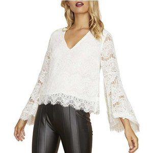 MinkPink White Lace Tainted Love Bell Sleeve Top